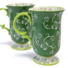 temp-tations® Set of Two Café Mugs in Floral Lace™ Shamrock :: temp-tations® by Tara