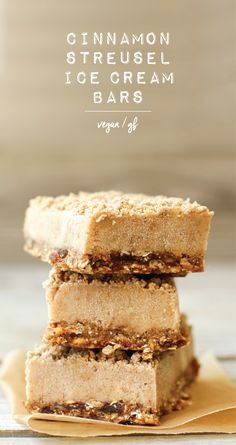 Chewy base, chilly cinnamon center, sweet sprinkles of streusel--these bars are a delicious dessert or healthy snack! Vegan, gluten-free, and low-fat...