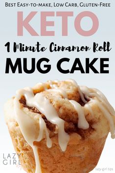 1 Minute Keto Cinnamon Roll Mug Cake - Lazy Girl This keto mug cake recipe is truly one of the best recipes for keto. A single serving cinnamon roll mug cake that cooks in the microwave. It is also paleo, gluten-free and wheat-free. Mug Cinnamon Roll, Keto Cinnamon Rolls, Cinnamon Cake, Cinnamon Desserts, Cinnamon Muffins, Cinnamon Cookies, Cinnamon Recipes, Cinnamon Spice, Egg Muffins