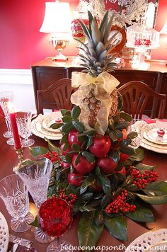 Colonial Williamsburg Christmas Table Setting with a Lemon and Lime Tree Centerpiece
