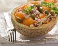 Riz minceur au melon, jambon maigre et câpres spécial : http://www.fourchette-et-bikini.fr/recettes/recettes-minceur/riz-minceur-au-melon-jambon-maigre-et-capres-special-calories-negativescalories négatives