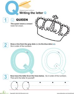 Letter-writing isn't just what happened before e-mail -- it's also an important step for preschoolers to learn before they begin a long journey to reading success. Give them a proper sendoff with these worksheets on uppercase letters. Alphabet For Kids, Preschool Letters, Letter Activities, Montessori Activities, Alphabet Crafts, Alphabet Letters, Preschool Classroom, Educational Activities, Letter Q Worksheets