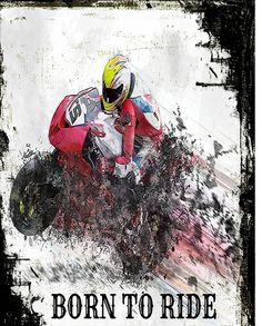 Born to Ride Motorcycle Racing Grunge