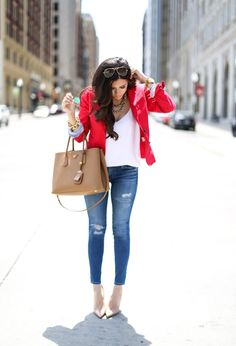 red blazer, ripped jeans, nude pumps