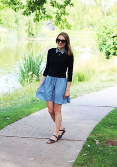 Navy cropped sweater with chambray dress and navy sandals