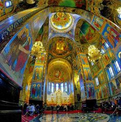 Church of the savior st petersburg Russia    Architecturally, this cathedral differs from St. Petersburg's other structures. The city's architecture is predominantly Baroque and Neoclassical, but this church is medieval Russian architecture in the spirit of romantic nationalism.    The Church contains over 7500 square metres of mosaics—according to its restorers, more than any other church in the world. This record may be surpassed by the Cathedral Basilica of St. Louis, which houses 7700…