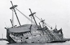 HMS Worcester Training Ship sank at her moorings in 1948, raised and broken up 1953