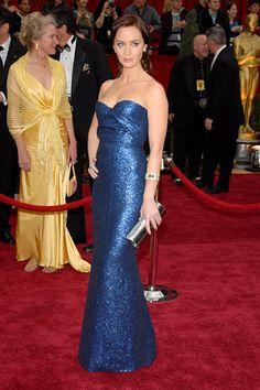 "Emily Blunt, ""Glittering Blue Statute"", Francisco Costa by Calvin Klein, Oscars 2007"