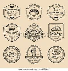 Vector set of vintage bakery logo. Retro logotypes collection with sweet bakery… Logos Vintage, Vintage Bakery, Retro Logos, Dessert Logo, Bakery Branding, Bakery Logo Design, Logo Patisserie, Logo Doce, Brand Identity Design