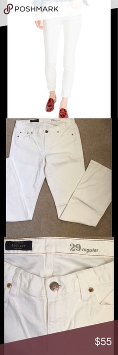 J. Crew Bootcut Jeans, 29 White bootcut jeans, worn 2-3 times. Near new condition. See picture for fabric content. Non smoking & no pet household. No trades please. No summer is complete without a pair of white jeans, and a blue & white stripped shirt!! Oui! J. Crew Jeans Boot Cut