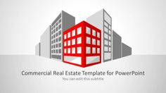 Commercial Real Estate Template and Background for PowerPoint, useful for architecture and building services. This presentation template contains different slide designs with commercial building shapes..