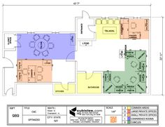 Office Layout in 989 square footage office area. #cubiclelayout