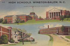 High Schools of Winston-Salem, North Carolina- 1940s Vintage Postcard- Unused on Etsy, $3.50 Salem North Carolina, Life Is Beautiful, Beautiful Places, Piedmont Airlines, Gate City, Winston Salem, Abandoned Places, High Schools, Explore
