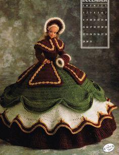 December 1991 Calendar Bed Doll Crochet Pattern Leaflet Annie's Barbie Clothes #AnniesAttic