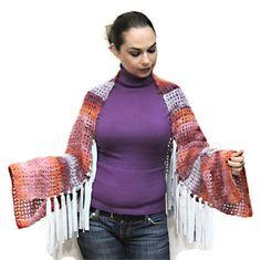 Hand Knit Scarf, Knitted Shrug, Mohair Boho Shrug, Infinity Shawl, Convertible, Winter, spring, orange, pink, red, burgundy by Solandia.   via Etsy.