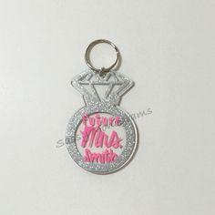 Glitter Diamond Ring Personalized Monogram Acrylic Keychain ~ Future Mrs. ~ Mrs. ~ Wifey