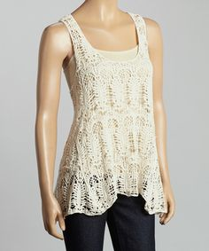 This Beige Crocheted Tank by Lady's World is perfect! #zulilyfinds