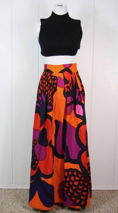 Marimekko OOAK Long Skirt  1969 OONA Fabric Maija Isola