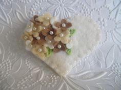 Felt Flower Brooch Pin Beaded Heart Valentine's Day Beaded Winter Whites
