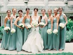 Alisha:  Same dresses I selected but I'm doing mine in pink. Now that I see it, I think a pop of pastel in the bouquet would look nice.  Sea Glass Green Bridesmaid Dresses
