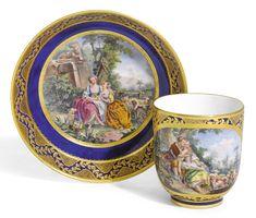 Plato t taza en porcelana de Sevres, Francia, 1756.
