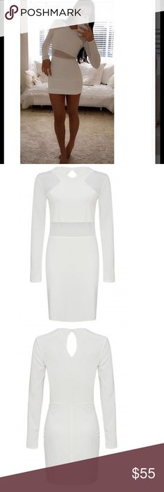 "Mesh Insert Bodycon Dress celeb Style White Celebrity Marnie Simpson Inspired Dress. V-neck. Long sleeve. Bodycon fit. Mini length. Approximate length = 33"". 95% polyester 5% elastane. Size XS-L available. Dress is white, I offer bundle discounts. Dresses"