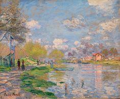 Claude Monet, Art Painting Impressionism Impressionist Spring by the Seine Claude Monet, Famous Landscape Paintings, Monet Paintings, Abstract Paintings, Contemporary Paintings, Painting Art, Henri Matisse, Artist Monet, Figurative Kunst