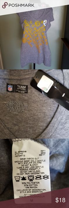 """Steelers V-neck shirt - NWT Steelers V-neck shirt. 15.5"""" armpit to armpit and 26"""" long. Tag shows Medium; however,  looks like would fit Small or X-small. Never worn,  smoke free home. NFL Apparel Tops Tees - Short Sleeve"""