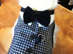 Dress Houndstooth dog Harness dog wedding vest by CustomDogJacket