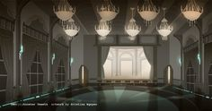 RWBY - Beacon Ballroom concept art Beacon Academy, Beacon Tower, Rwby Weiss, Grayscale Image, Rwby Characters, The Hollywood Bowl, Blake Belladonna, Matte Painting, Biomes