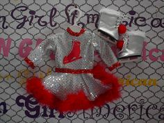 Silver and Red Ice Skating outfit FREE SHIPPING by CarolsDollCloset on Etsy