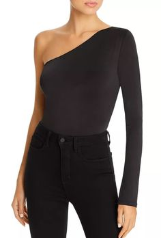 WAYF One-Shoulder Bodysuit Women - Bloomingdale's Bodysuit Blouse, Black Bodysuit, Spandex Fabric, Soft Fabrics, One Shoulder, Feminine, Sleeves, Shopping, Collection
