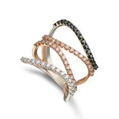 Anel Ouro Branco Ouro Rosé e Diamantes Degrade Maior