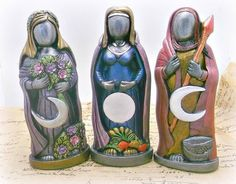 Set of 3 statues Maiden Mother Crone Pagan wiccan altar , home decor, wicca