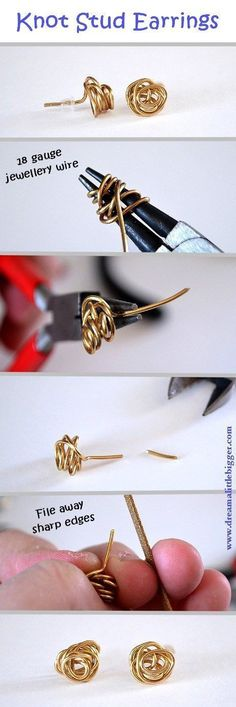Knot stud earrings, very easy DIY.(18g may not feel good in the ears....maybe 20g) ~ Wire Jewelry Tutorials #diystudearringswire #diystudearringstutorials