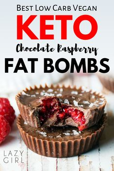 Best Keto Chocolate Raspberry Fat Bombs Recipe - These vegan fat bombs are naturally low in carbs and won't raise your blood sugar. You can use any berries - raspberries, blackberries, blueberries or strawberries - all are delicious when covered in chocolate!
