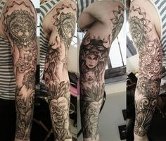 Arm Tattoo by Hell Yeah Rockshop #ink #lion #flower #full #polygon #geometric #lyon