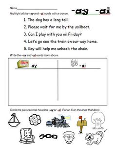 Worksheets Ai Ay Worksheets literacy activities salems lot and word work on pinterest ay ai worksheet