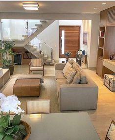 45 creative diy farmhouse home decor ideas and inspirations Home Room Design, Home Building Design, Home Stairs Design, Modern Small House Design, Home, Modern Exterior House Designs, Stairs In Living Room, Small House Design, Duplex House Design