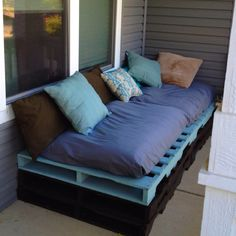 I made this pallet couch for $100. Its so comfy and everyone loves it. It's a great way to recycle old pallets!