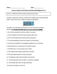 Free Nouns Worksheets for use at school or home. A noun is a word that names a person, place, thing or idea. Nouns are used in your writing very often and are one of the most common parts of speech. Subject And Predicate Examples, Subject And Predicate Worksheets, Spelling Worksheets, Free Kindergarten Worksheets, 1st Grade Worksheets, Worksheets For Kids, Regular Nouns, Sixth Grade Reading, Teaching Nouns