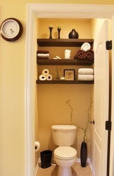 small yellow with good storage idea... going to do this to the down stairs bathroom!!!! love love love it