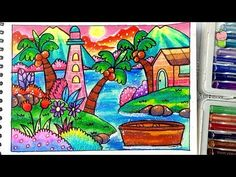 Scenery of Sea - How to draw and coloring with oil pastel for kids Easy Step by step Cute Doodle Art, Mini Doodle, Cute Doodles, Scenery Drawing For Kids, Art Drawings For Kids, Love Drawings, Storybook Cottage, Cottage Art, Oil Pastel Drawings