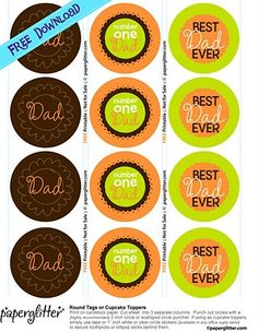 free fathers day cupcake toppers | ... over and download FREE Father's Day Circle tags or Cupcake Toppers