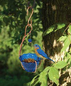 Copper Heirloom Bluebird Mealworm Feeder, Handcrafted Copper Bluebird mealworm Feeders at Songbird Garden
