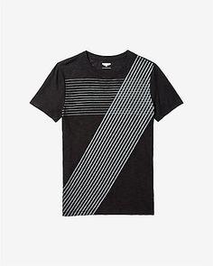 slub crew neck cross stripe t-shirt