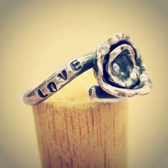Sterling SIlver Love Waits Promise Ring with Cast Flower via Etsy