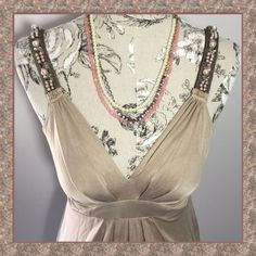 """⚡️SALE⚡️Elie Tahari Silk BEAUTIFULBeaded Blouse REDUCED!⁉️DEAL⁉️This Elie Tahari size Medium, 100% Silk, blonde, jersey 'Paige' beaded top is absolutely stunning. The color will work w/almost any other, it can be dressed up or rocked w/a nice pair of jeans & the perfect cut of this blouse is extremely flattering. Feels amazing against your skin & the beaded straps remind me of """"diamonds & pearls"""", every girls best friends!**This top (in black) was worn by actress Casey Cartwright on the show…"""