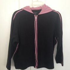 "Selling this ""Black hoodie with pink piping"" in my Poshmark closet! My username is: curlychel. #shopmycloset #poshmark #fashion #shopping #style #forsale #Lane Bryant #Jackets & Blazers"