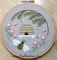 Beehive Crewel Embroidery Pattern
